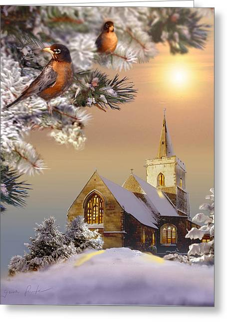 Winter Scene With Robins And Church   Greeting Card