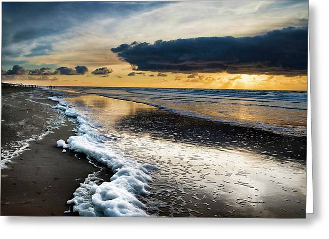 Winter Sea Sunset Greeting Card