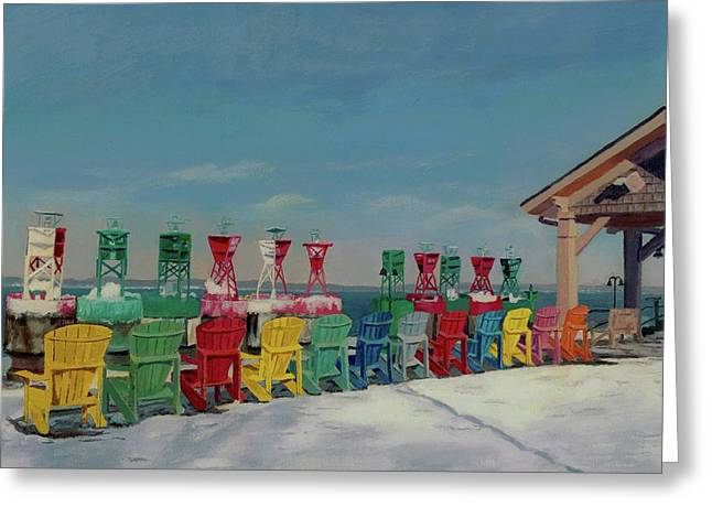 Greeting Card featuring the painting Winter Sentries by Lynne Reichhart