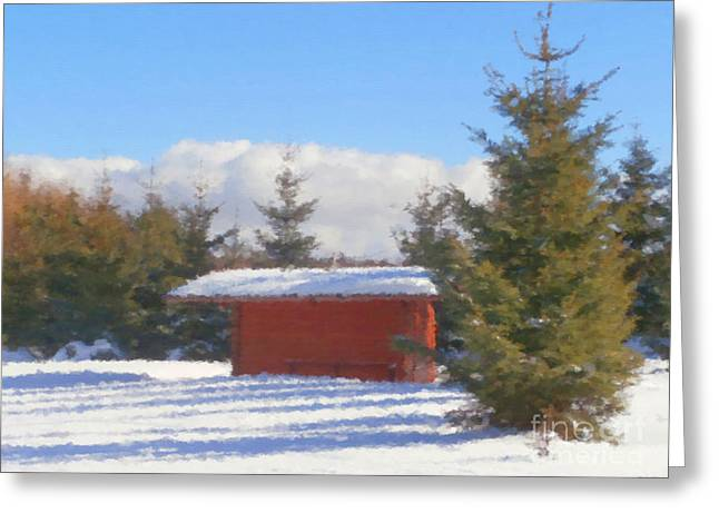 Winter Shack Greeting Card by Miroslav Nemecek