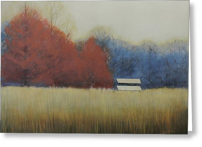 Greeting Card featuring the painting Winter Shed by Cap Pannell