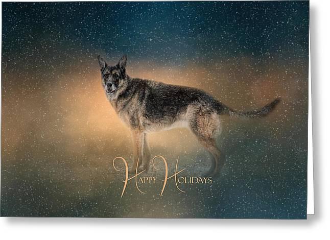 Winter Shepherd - Happy Holidays Greeting Card by Jai Johnson