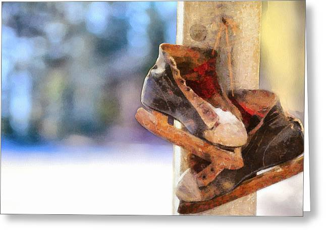 Winter Skates Greeting Card by Ryan Burton