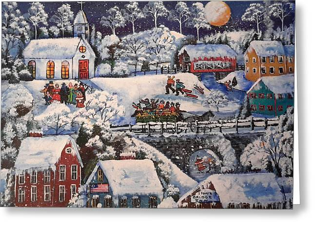 Winter Sleigh Ride Greeting Card by Theresa Prokop