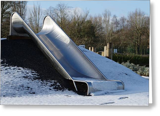Winter Slide Greeting Card by Adrian Wale