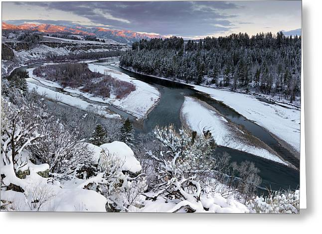 Winter Snake River Greeting Card by Leland D Howard