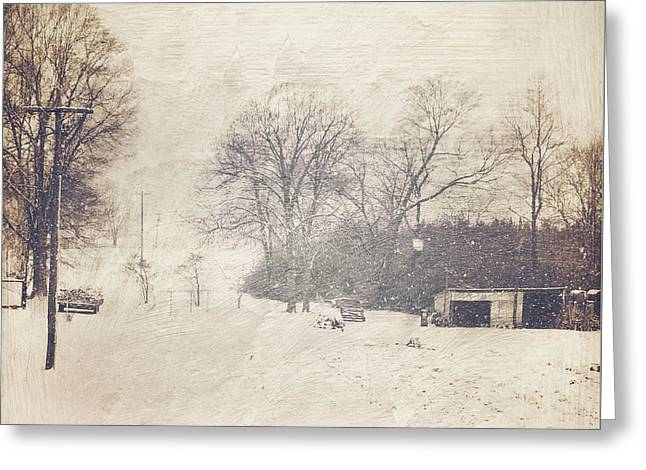 Winter Snow Storm At The Farm Greeting Card