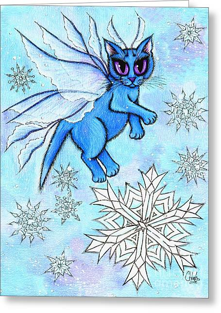 Winter Snowflake Fairy Cat Greeting Card by Carrie Hawks