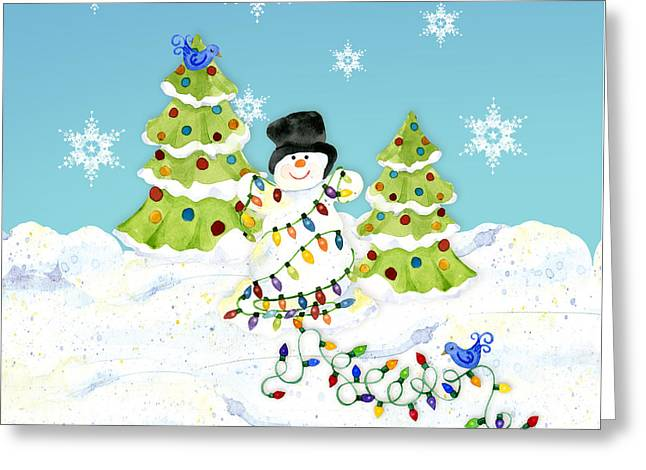 Winter Snowman - All Tangled Up In Lights Snowflakes Greeting Card by Audrey Jeanne Roberts