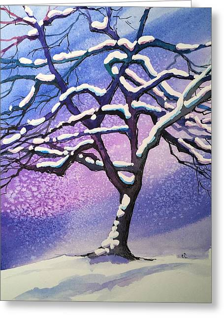 Winter Snowstorm Greeting Card by Christine Camp