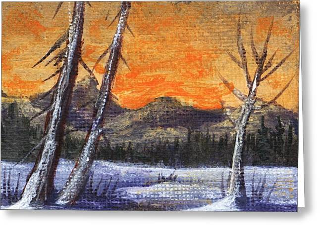 Greeting Card featuring the painting Winter Solitude #1 by Anastasiya Malakhova
