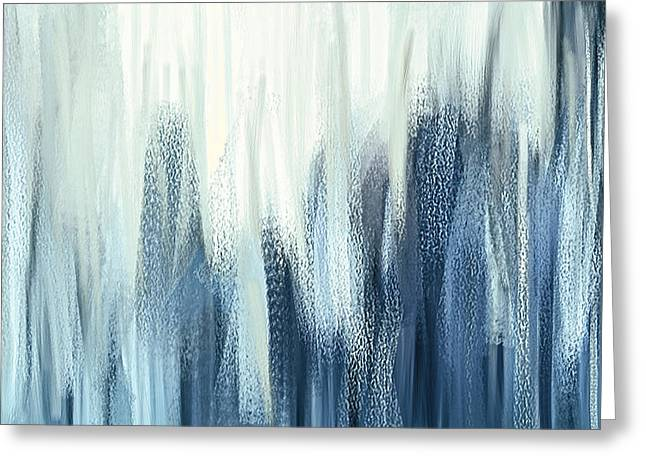 Winter Sorrows - Blue And White Abstract Greeting Card by Lourry Legarde