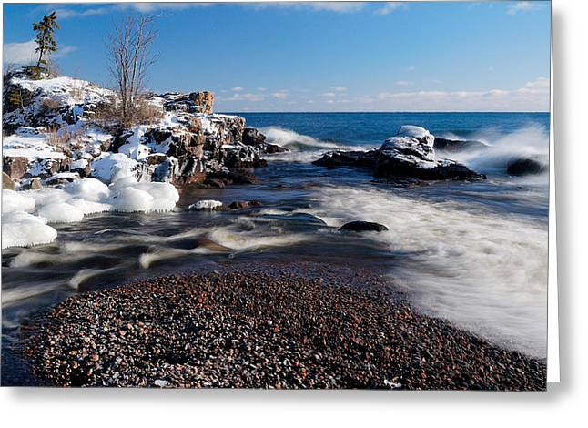 Snow-covered Landscape Photographs Greeting Cards - Winter Splash Greeting Card by Sebastian Musial
