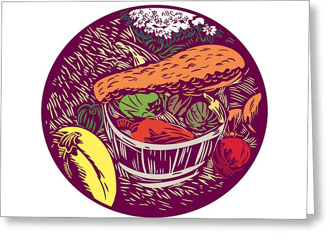 Winter Squash Pumpkin Oval Woodcut Greeting Card