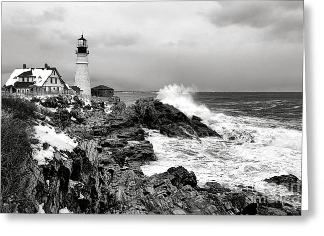 Winter Storm At Portland Head Greeting Card by Olivier Le Queinec