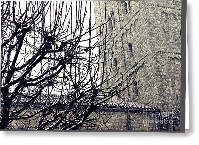 Winter Storm At The Cloisters 2 Greeting Card by Sarah Loft