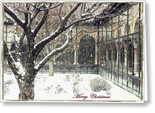 Winter Storm At The Cloisters 3 Card 2 Greeting Card by Sarah Loft