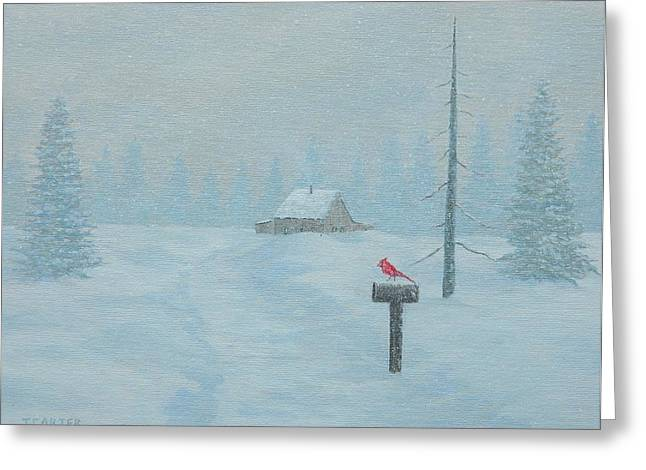 Carter House Paintings Greeting Cards - Winter Storm Carter Greeting Card by John Carter