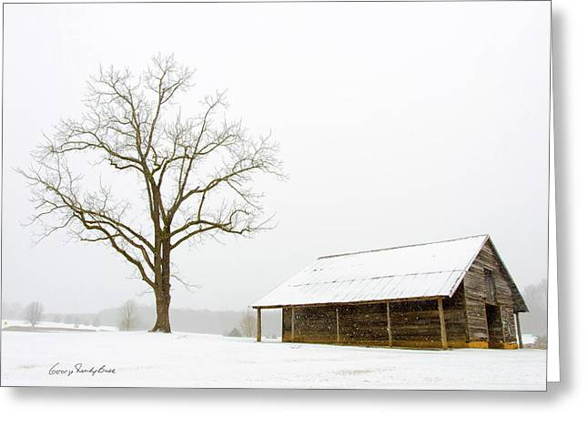 Winter Storm On The Farm Greeting Card by George Randy Bass