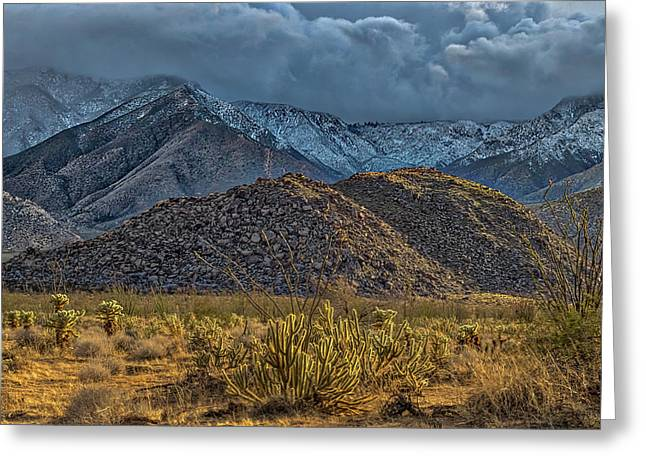 Winter Storm To The Desert Floor Greeting Card