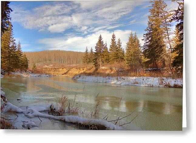 Winter Stream Greeting Card by Jim Sauchyn
