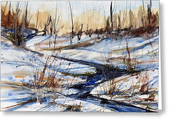 Winter Stream Greeting Card by Judith Levins
