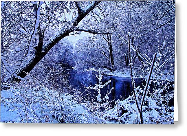 Myhorizonart Greeting Cards - Winter Stream Greeting Card by Phil Koch