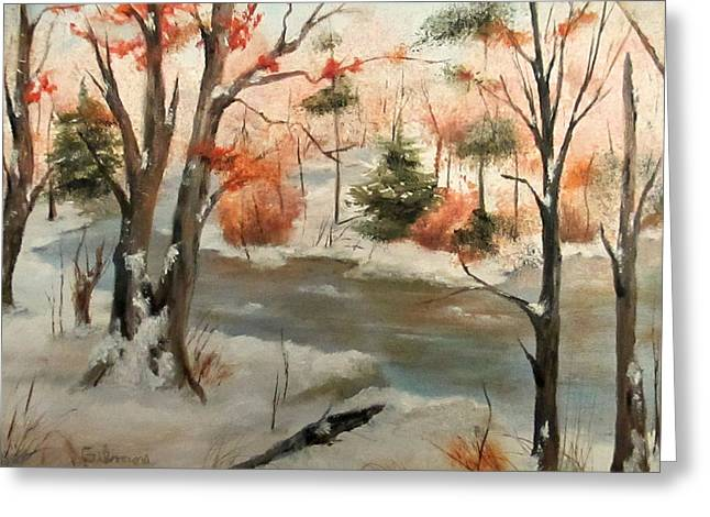Winter Stream Greeting Card by Roseann Gilmore