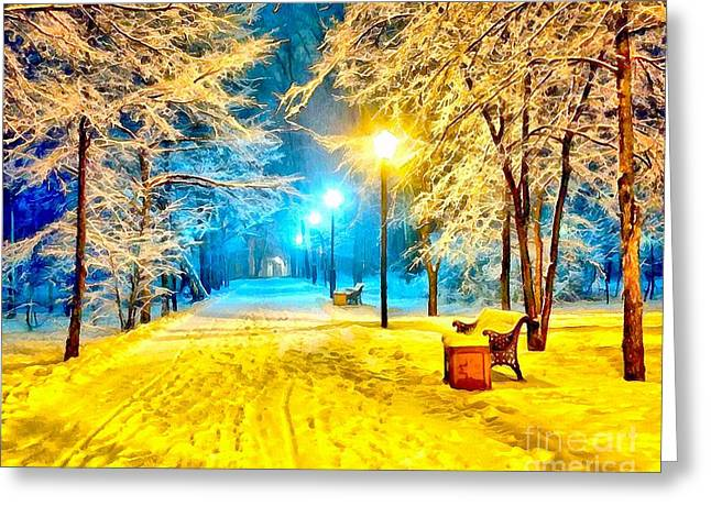 Winter Street Greeting Card