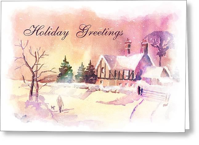 Winter Stroll Card Greeting Card by Arline Wagner