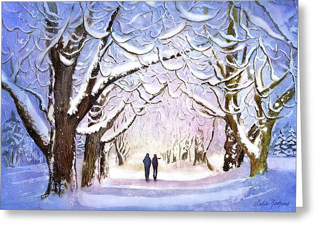 Winter Stroll Greeting Card by Leslie Redhead