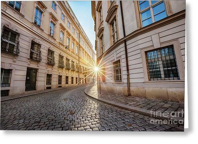 winter sun between two buildings in Vienna Greeting Card