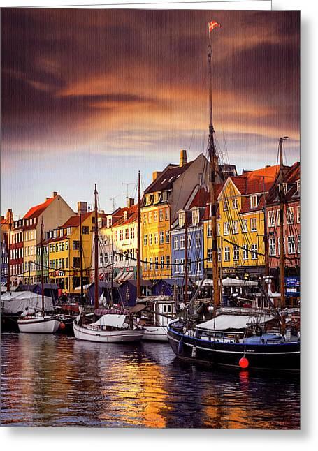Winter Sun Over Nyhavn Copenhagen  Greeting Card