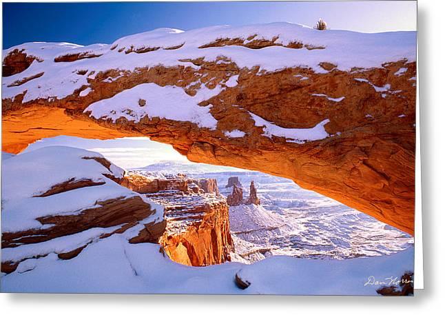 Winter Sunrise At Mesa Arch Greeting Card