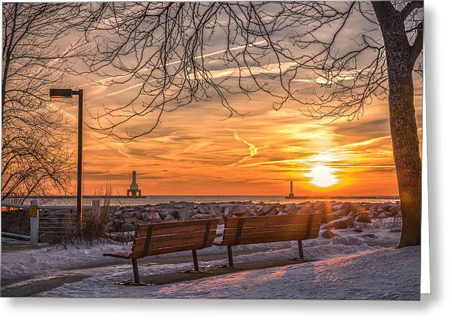 Winter Sunrise In The Park Greeting Card