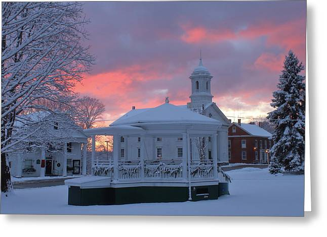Winter Sunrise On The Common Greeting Card by John Burk
