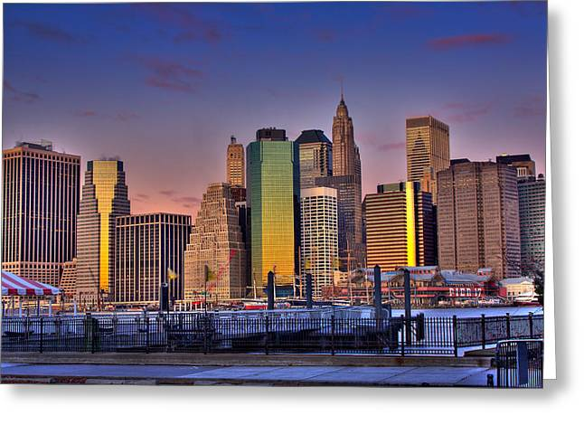 Winter Sunrise Over Downtown Manhattan Greeting Card by Val Black Russian Tourchin