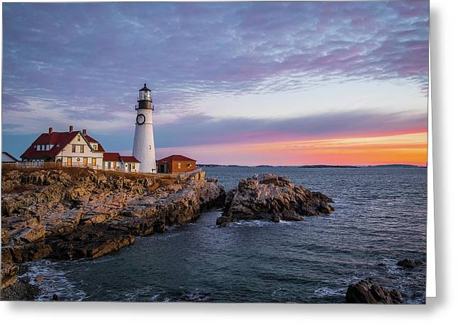 Winter Sunrise Over Portland Head Light Greeting Card