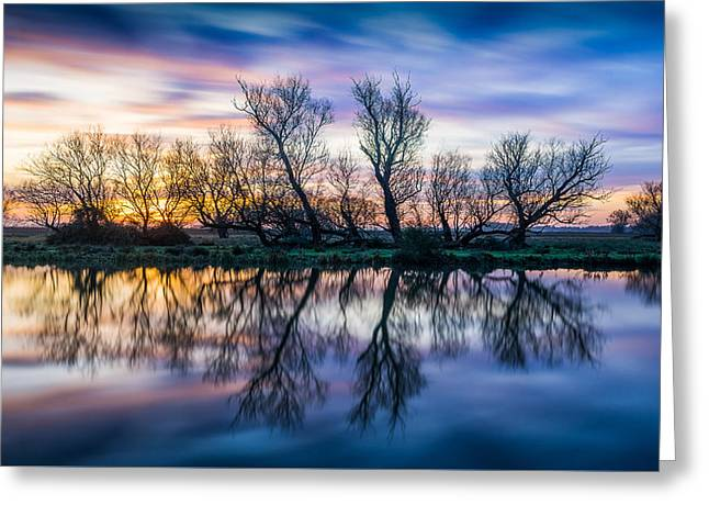 Winter Sunrise Over The Ouse Greeting Card