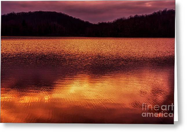 Winter Sunset Afterglow Reflection Greeting Card
