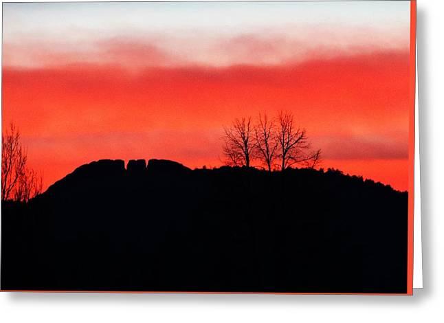 Winter Sunset At Horsetooth Rock Greeting Card