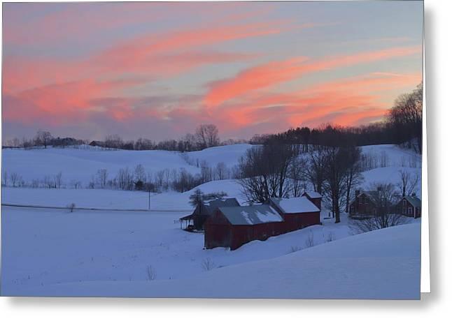 Winter Sunset At Jenne Farm Vermont Greeting Card by John Burk