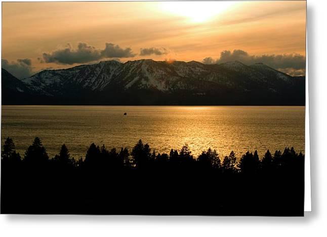 Winter Sunset At Lake Tahoe Greeting Card