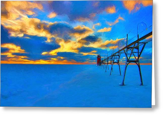 Winter Sunset At Saint Joseph Michigan Greeting Card by Dan Sproul