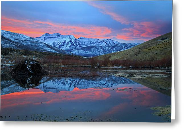 Greeting Card featuring the photograph Winter Sunset At The Wallsburg Turn. by Johnny Adolphson