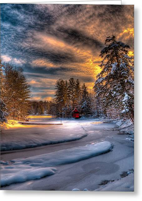 Winter Sunset Greeting Card by David Patterson