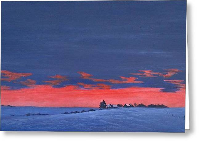 Winter Sunset Greeting Card by Denise   Hoff