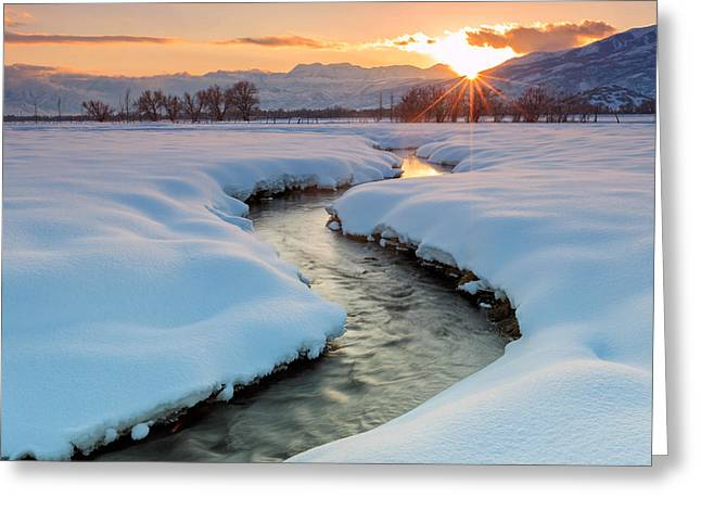 Winter Sunset In Rural Utah. Greeting Card