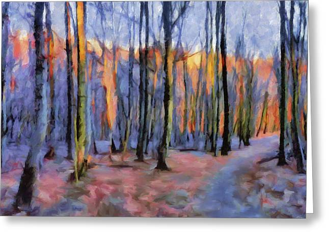 Winter Sunset In The Beech Wood Greeting Card