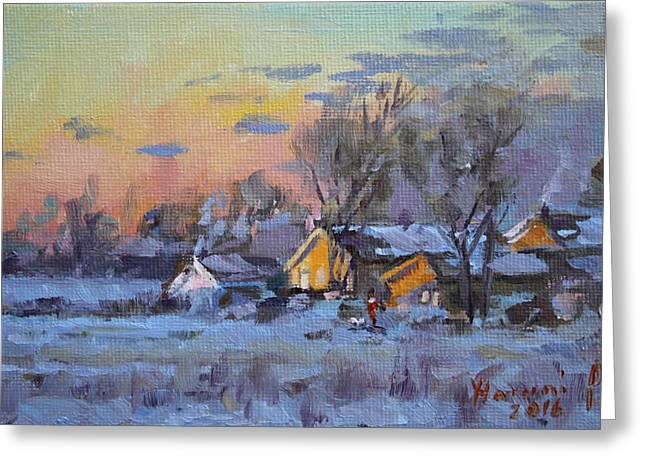 Winter Sunset In The Farm Greeting Card by Ylli Haruni